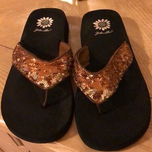 Gold sequins Yellow Box sandals!